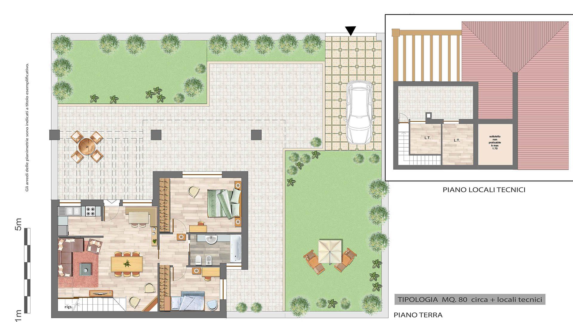 Casa 80 Mq Pianta villino in quadrifamiliare su due livelli - 126 mq con